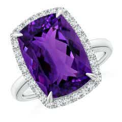 GIA Certified Rectangular Cushion Amethyst Ring with Halo - 7 CT TW