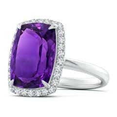 Toggle GIA Certified Cushion Amethyst Ring with Halo - 7 CT TW