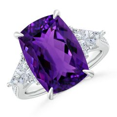 Classic GIA Certified Amethyst Three Stone Ring with Diamonds - 7.8 CT TW
