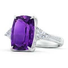 Toggle Classic GIA Certified Amethyst Three Stone Ring with Diamonds - 7.8 CT TW