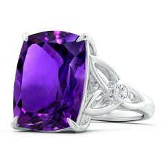 GIA Certified Rectangular Cushion Amethyst Celtic Knot Ring - 10.4 CT TW