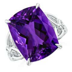 Toggle GIA Certified Rectangular Cushion Amethyst Celtic Knot Ring - 10.4 CT TW