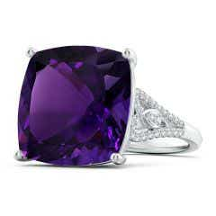 GIA Certified Cushion Amethyst Ring with Heart Motifs - 15.3 CT TW