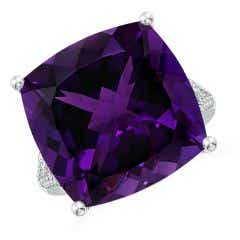 Toggle GIA Certified Cushion Amethyst Ring with Heart Motifs - 15.3 CT TW