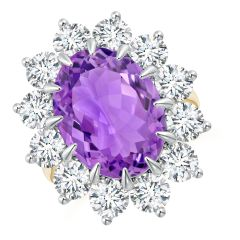 Claw-Set GIA Certified Oval Amethyst Floral Halo Ring - 12.33 CT TW