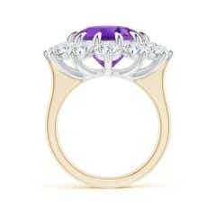 Toggle Claw-Set GIA Certified Oval Amethyst Floral Halo Ring - 12.33 CT TW