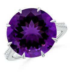 Classic GIA Certified Round Amethyst Ring with Diamonds - 8.2 CT TW