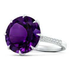Toggle Classic GIA Certified Round Amethyst Ring with Diamonds - 8.2 CT TW