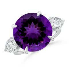 Toggle GIA Certified Round Amethyst Ring with Pear Moissanites - 9.6 CT TW