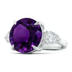 GIA Certified Round Amethyst Ring with Pear Moissanites - 9.6 CT TW