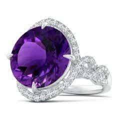 Toggle GIA Certified Round Amethyst Twisted Split Shank Halo Ring - 12.4 CT TW