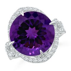 GIA Certified Round Amethyst Twisted Split Shank Halo Ring - 12.4 CT TW