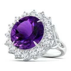 GIA Certified Round Amethyst Floral Cocktail Ring - 14.2 CT TW