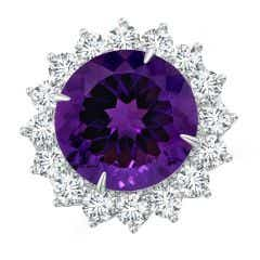 Toggle GIA Certified Round Amethyst Floral Cocktail Ring - 14.2 CT TW