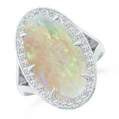GIA Certified Opal Split Shank Ring with Diamond Halo - 5.1 CT TW
