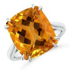 Toggle Vintage Style Double Claw-Set GIA Certified Citrine Ring - 9.1 CT TW