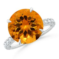 GIA Certified Citrine Solitaire Ring with Diamond Accents - 6.7 CT TW