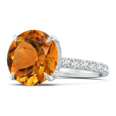 Toggle GIA Certified Citrine Solitaire Ring with Diamond Accents - 6.7 CT TW
