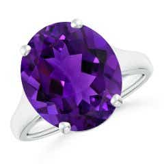 Flat Prong-Set GIA Certified Oval Amethyst Solitaire Ring - 7.2 CT TW