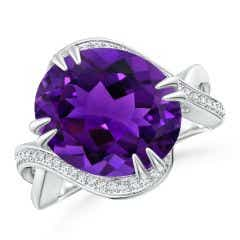 GIA Certified Oval Amethyst Bypass Ring with Diamond Accents - 7.4 CT TW