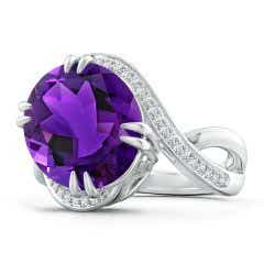 Toggle GIA Certified Oval Amethyst Bypass Ring with Diamond Accents - 7.4 CT TW