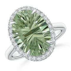 GIA Certified Oval Green Amethyst Cathedral Ring - 5.9 CT TW