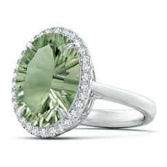 Toggle GIA Certified Oval Green Amethyst Cathedral Ring - 5.9 CT TW