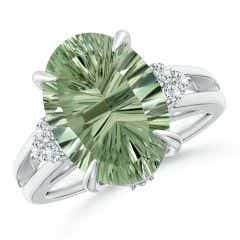 GIA Certified Green Amethyst Split Shank Ring with Diamonds - 5.8 CT TW