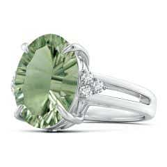 Toggle GIA Certified Green Amethyst Split Shank Ring with Diamonds - 5.8 CT TW