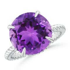 Round Amethyst Twist Rope Ring