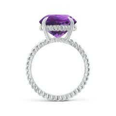 Toggle Round Amethyst Twist Rope Ring