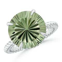 GIA Certified Round Green Amethyst Twist Rope Ring - 5.6 CT TW