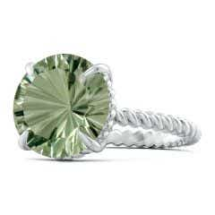 Toggle GIA Certified Round Green Amethyst Twist Rope Ring - 5.6 CT TW