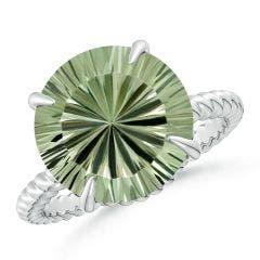 GIA Certified Round Green Amethyst (Prasiolite) Twist Rope Ring - 5.6 CT TW