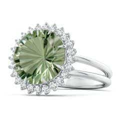 Classic GIA Certified Green Amethyst (Prasiolite) Ring with Diamond Halo - 6.1 CT TW