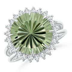 Toggle Classic GIA Certified Green Amethyst (Prasiolite) Ring with Diamond Halo - 6.1 CT TW