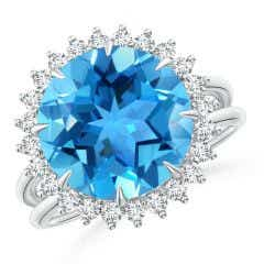 Classic Swiss Blue Topaz Ring with Diamond Halo
