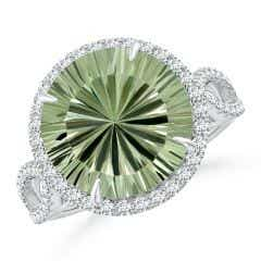 GIA Certified Round Green Amethyst Split Shank Ring - 6 CT TW