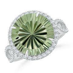 GIA Certified Round Green Amethyst (Prasiolite) Split Shank Ring - 6 CT TW