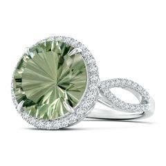 Toggle GIA Certified Round Green Amethyst (Prasiolite) Split Shank Ring - 6 CT TW