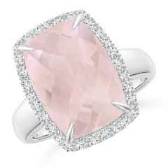 GIA Certified Rectangular Cushion Rose Quartz Halo Ring - 6.3 CT TW