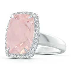 Toggle GIA Certified Rectangular Cushion Rose Quartz Halo Ring - 6.3 CT TW