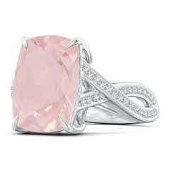 Toggle Classic GIA Certified Solitaire Rose Quartz Criss-Cross Ring - 6.2 CT TW