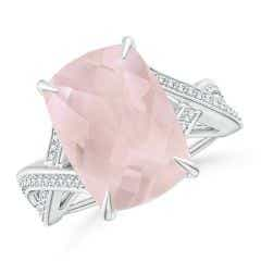 Classic GIA Certified Solitaire Rose Quartz Criss-Cross Ring - 6.2 CT TW