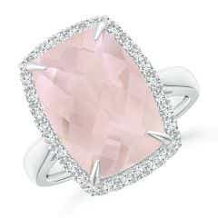 GIA Certified Rectangular Cushion Rose Quartz Ring with Halo - 6.3 CT TW