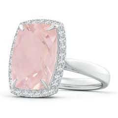 Toggle GIA Certified Rectangular Cushion Rose Quartz Ring with Halo - 6.3 CT TW