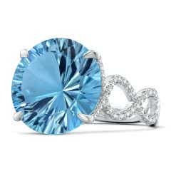 GIA Certified Round Sky Blue Topaz Twisted Split Shank Ring - 15.7 CT TW