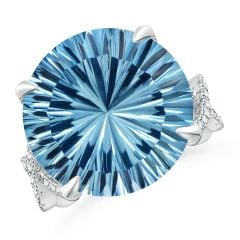 Toggle GIA Certified Round Sky Blue Topaz Twisted Split Shank Ring - 15.7 CT TW