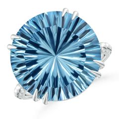 Toggle GIA Certified Round Sky Blue Topaz Ring with Beaded Shank - 15 CT TW