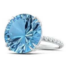 GIA Certified Round Sky Blue Topaz Ring with Beaded Shank - 15 CT TW